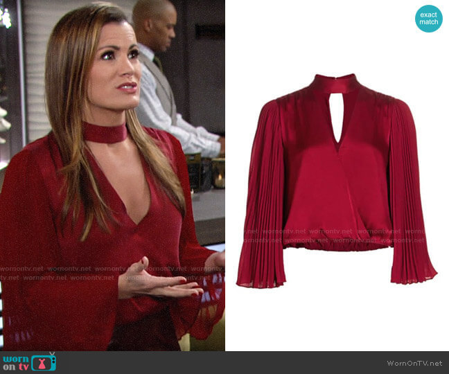 Alice + Olivia Luba Blouse worn by Chelsea Lawson (Melissa Claire Egan) on The Young & the Restless