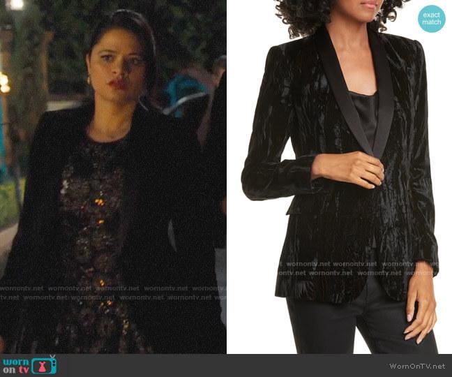 Alice + Olivia Macey Velvet Blazer worn by Mel Vera (Melonie Diaz) on Charmed