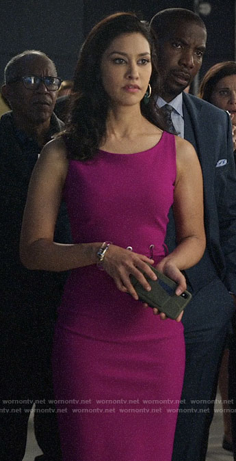 Alison's pink dress with lace-up waist on The Morning Show