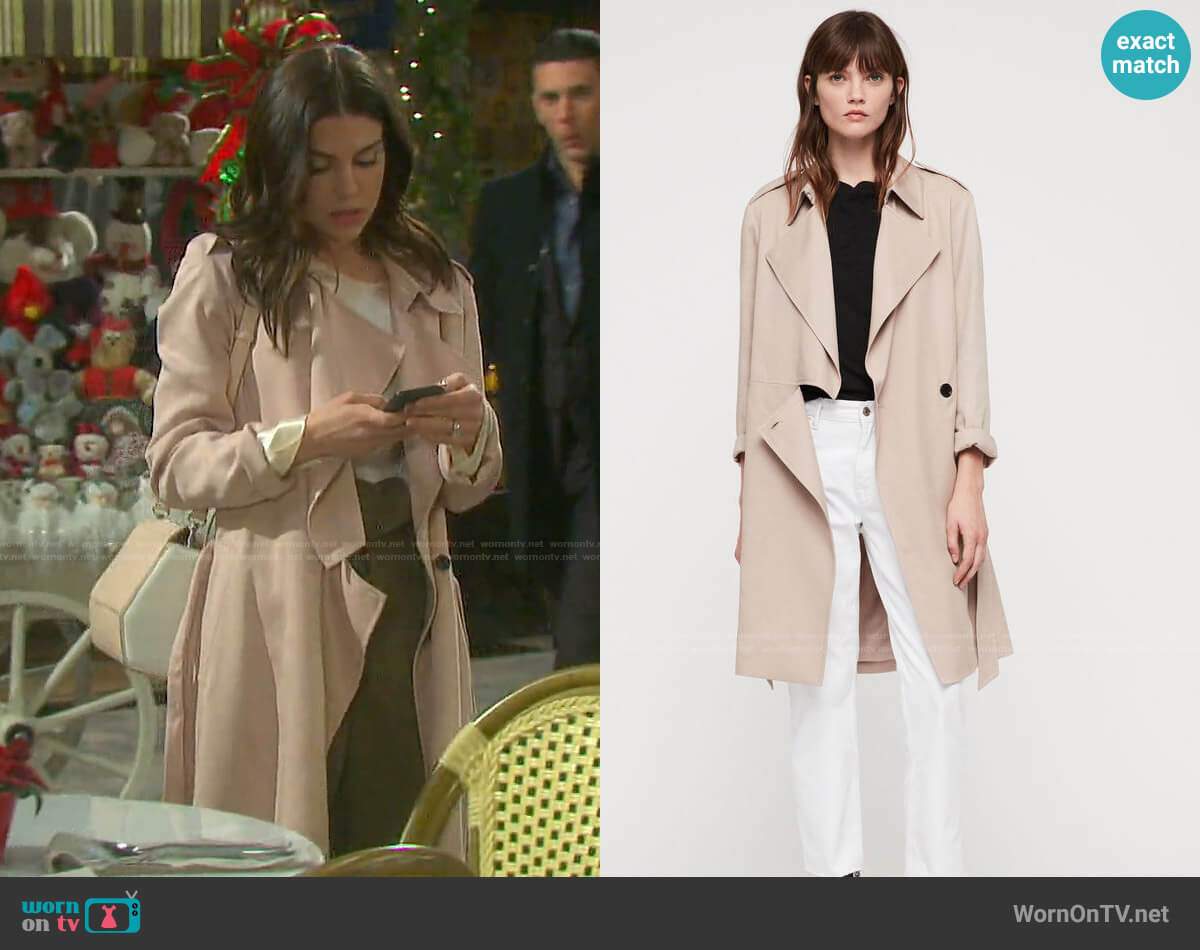 All Saints Bexley Trench worn by Abigail Deveraux (Kate Mansi) on Days of our Lives