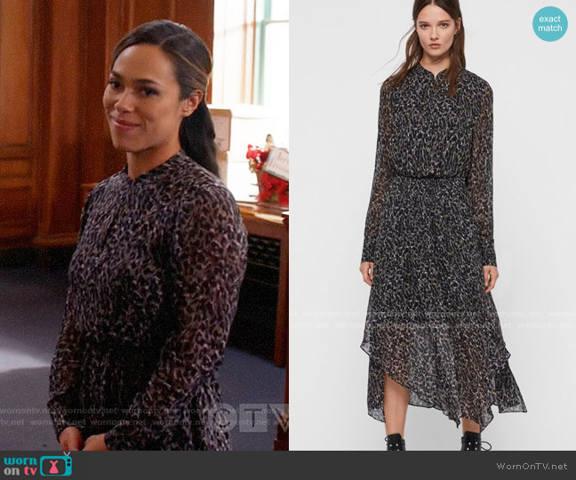 All Saints Valeria Waterleo Dress worn by Emily Lopez (Jessica Camacho) on All Rise