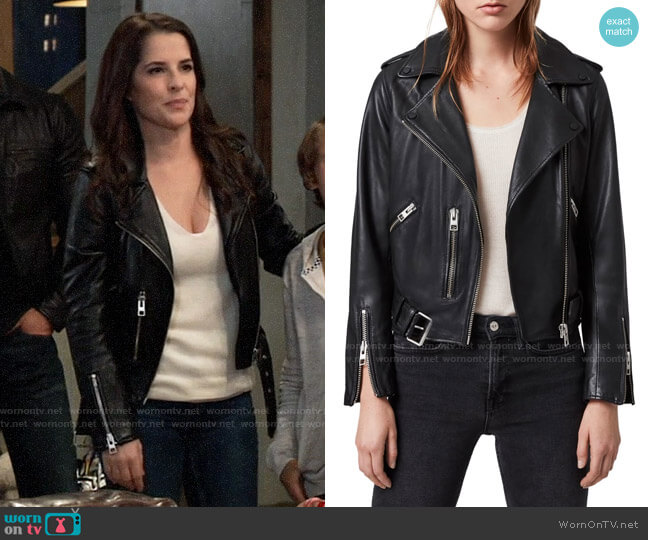 All Saints Balfern Leather Jacket worn by Sam McCall (Kelly Monaco) on General Hospital