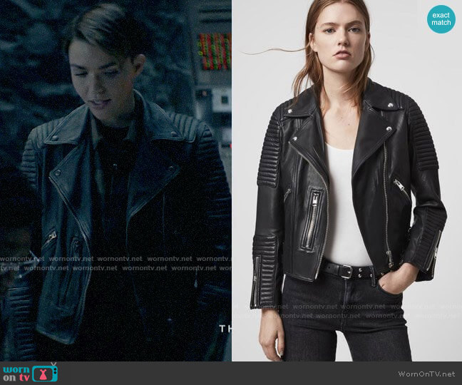 All Saints Estella Leather Biker Jacket worn by Kate Kane (Ruby Rose) on Batwoman