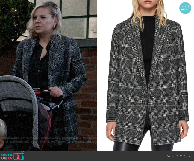 All Saints Lucia Oversized Plaid Blazer worn by Maxie Jones (Kirsten Storms) on General Hospital