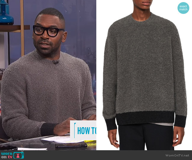 Tremett Boucle Sweater by All Saints worn by Justin Sylvester  on E! News