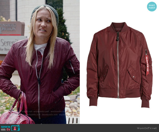 Alpha Industries L-2B Scout Water Resistant Flight Jacket worn by Roxy Doyle (Emily Osment) on Almost Family