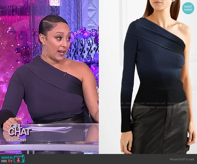 Padma One-Sleeve Top by Altuzarra worn by Tamera Mowry  on The Real