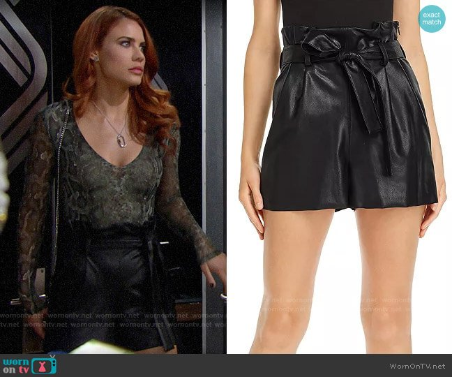 Amanda Uprichard Tessi Faux Leather Shorts worn by Sally Spectra (Courtney Hope) on The Bold & the Beautiful