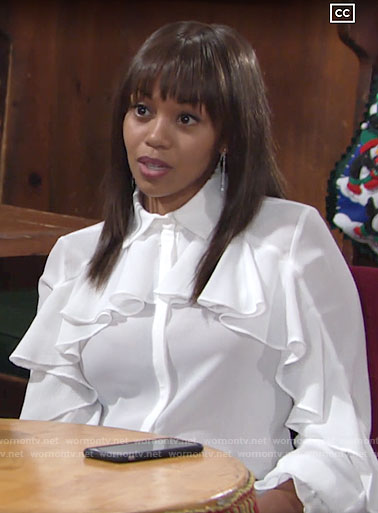 Amanda's white ruffled blouse on The Young and the Restless