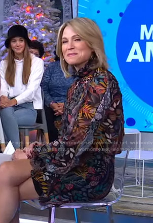 Amy's black printed mini dress on Good Morning America