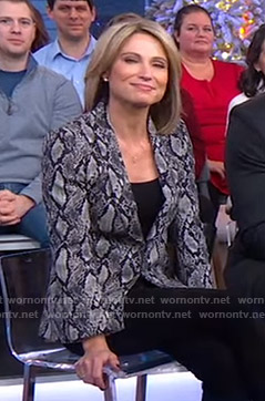 Amy's grey snake print blazer on Good Morning America