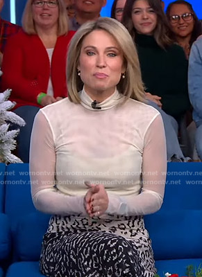 Amy's white mesh top and leopard print asymmetric skirt on Good Morning America