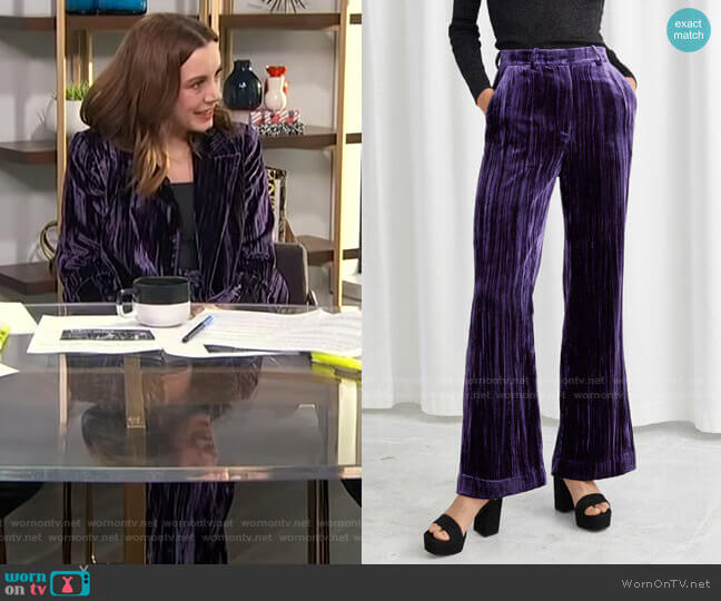 Crushed Velvet Kick Flare Trousers by & Other Stories worn by Melanie Bromley  on E! News