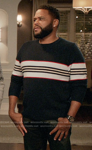 Andre's navy striped sweater on Black-ish