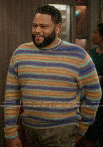 Andre's purple and yellow stripe sweater on Black-ish