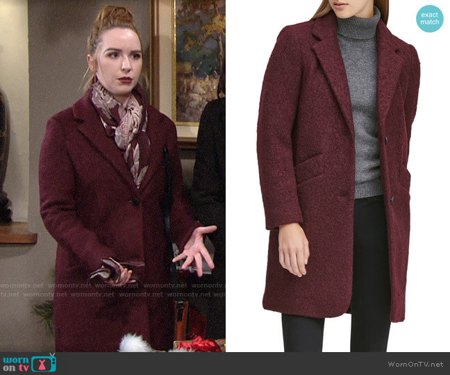 Marc New York Paige Boucle Coat worn by Mariah Copeland (Camryn Grimes) on The Young & the Restless