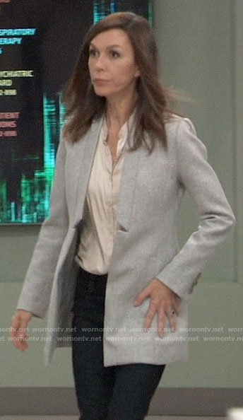 Anna's grey inverted lapel coat on General Hospital