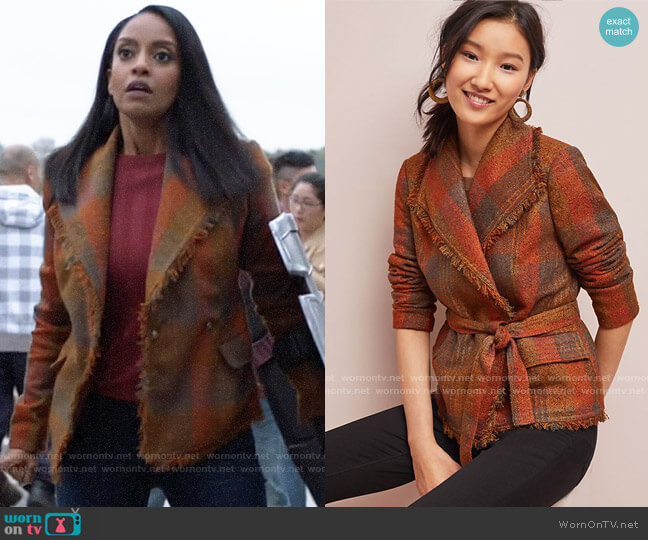 Anthropologie Cartonnier Plaid Wrap Blazer worn by Kelly Olsen (Azie Tesfai) on Supergirl