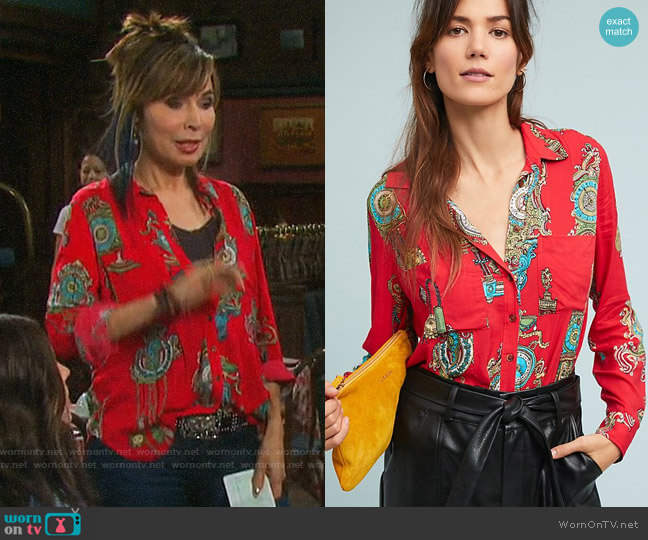 Anthropologie Maeve Whimsy Buttondown worn by Kate Roberts (Lauren Koslow) on Days of our Lives