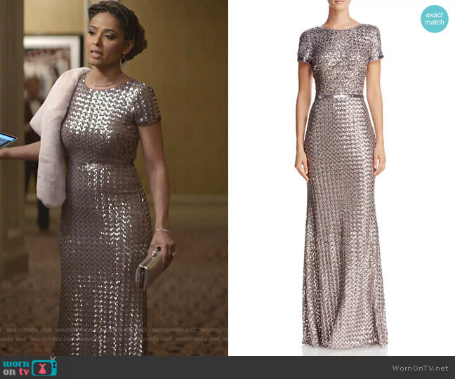 Belted Sequin Gown by Aqua worn by Meta Golding on Empire