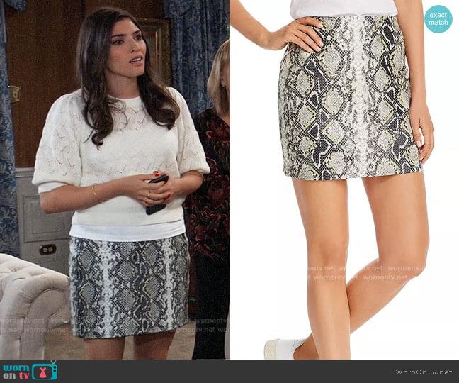 Aqua Embossed Faux-Leather Mini Skirt worn by Brook Lynn Quartermaine (Amanda Setton) on General Hospital
