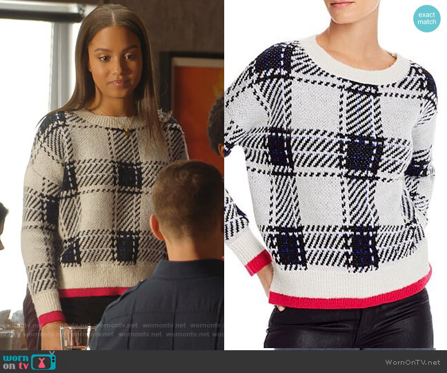 Plaid Crewneck Sweater by Aqua worn by May Grant (Corinne Massiah) on 9-1-1