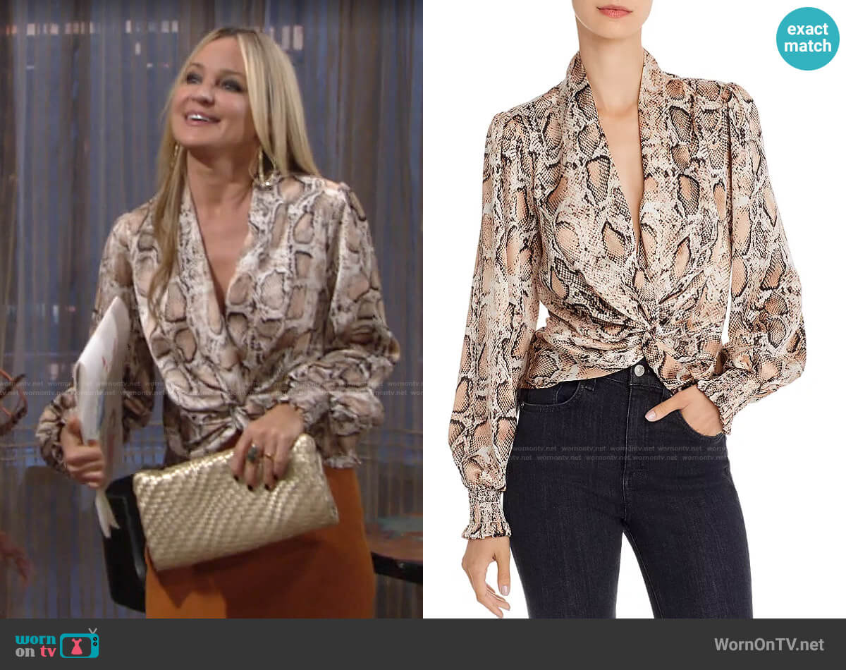 Aqua Twist-Front Top worn by Sharon Collins (Sharon Case) on The Young & the Restless