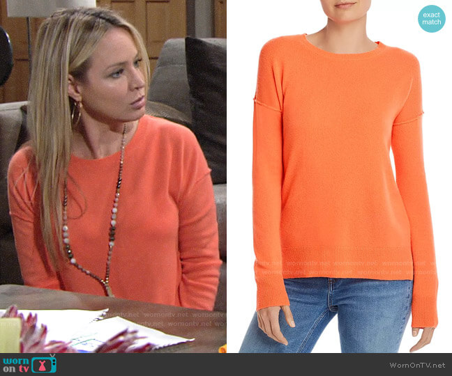 Aqua Neon Orange High/Low Cashmere Sweater worn by Sharon Collins (Sharon Case) on The Young & the Restless