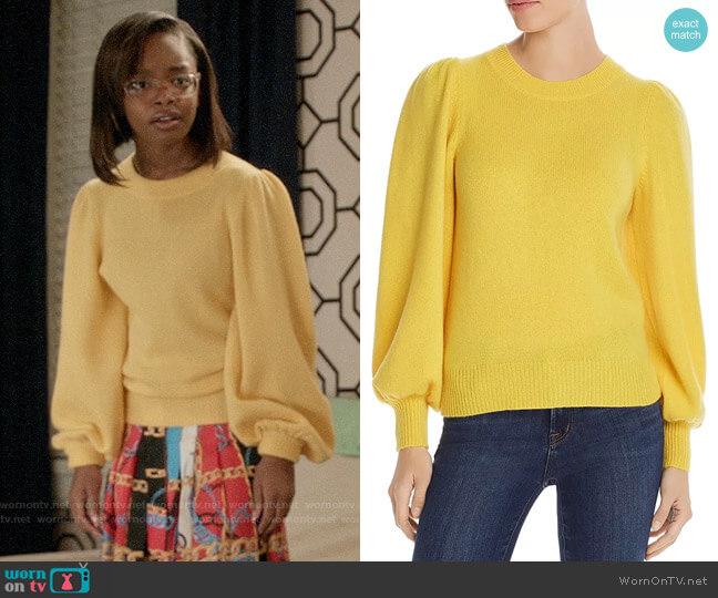 Aqua Puff-Sleeve Cashmere Sweater worn by Diane Johnson (Marsai Martin) on Blackish