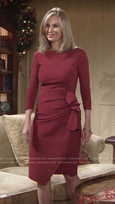 Ashley's red side ruffle dress on The Young and the Restless