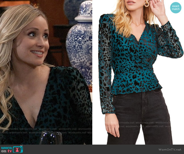 ASTR Leopard Burnout Wrap Top worn by Lulu Spencer Falconeri (Emme Rylan) on General Hospital
