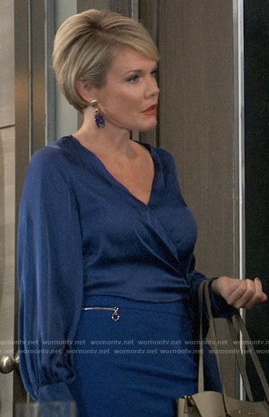 Ava's blue wrap blouse and zip detail skirt on General Hospital