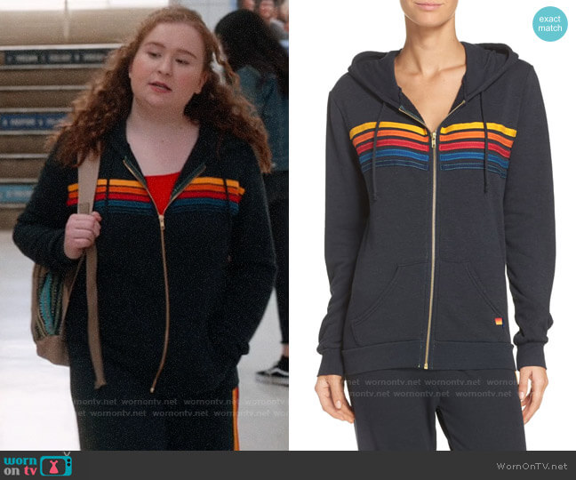 Aviator Nation 5 Stripe Hoodie worn by Ashlyn (Julia Lester) on High School Musical The Musical The Series