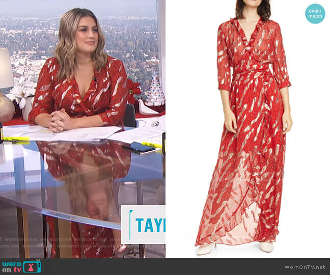 Hali Metallic Print Silk Blend Maxi Dress by Ba&Sh worn by Carissa Loethen Culiner  on E! News