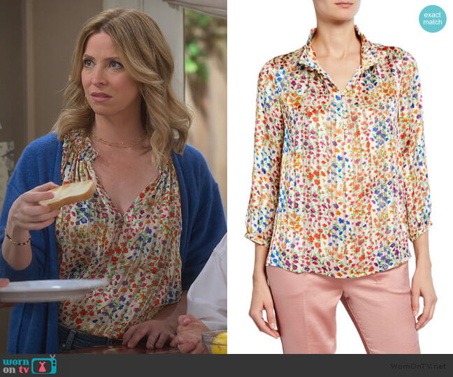 room floral-print mock-neck button-front 3/4-sleeve top by Ba&sh worn by Jennifer Cooper (Jolie Jenkins) on Alexa & Katie