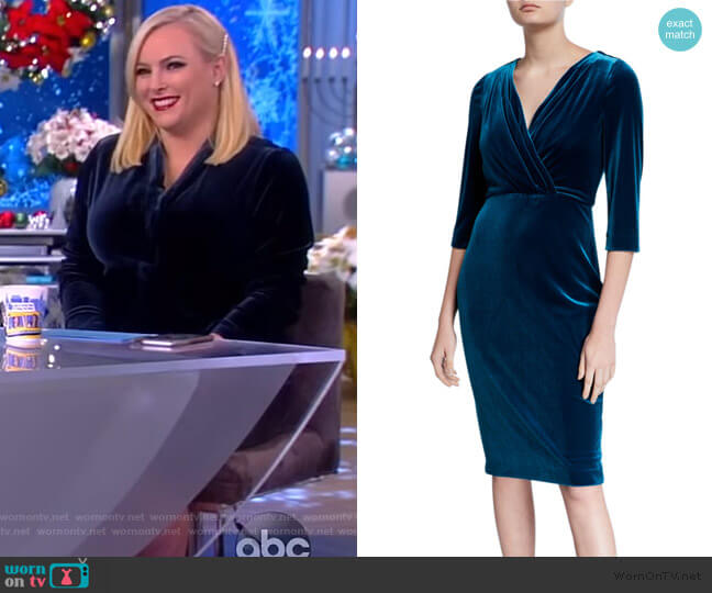 V-Neck 1/2-Sleeve Velvet Cocktail Dress by Badgley Mischka Collection worn by Meghan McCain  on The View