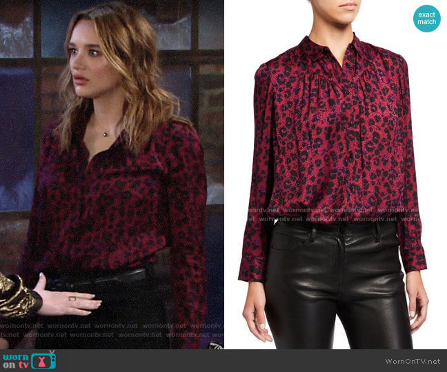 ba&sh Tim Leopard Print Blouse worn by Summer Newman (Hunter King) on The Young & the Restless