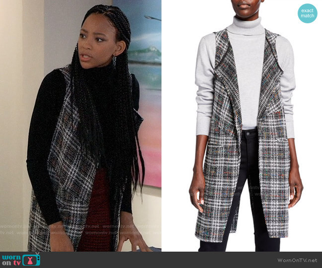Bcbgeneration Plaid Tweed Wrap Vest worn by Trina (Sydney Mikayla) on General Hospital
