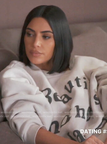 Kim's white Beautiful Mothers Day sweater on Keeping Up with the Kardashians