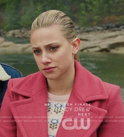 Betty's pink floral sweater and coat on Riverdale