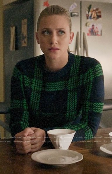 Betty's navy and green plaid sweater on Riverdale