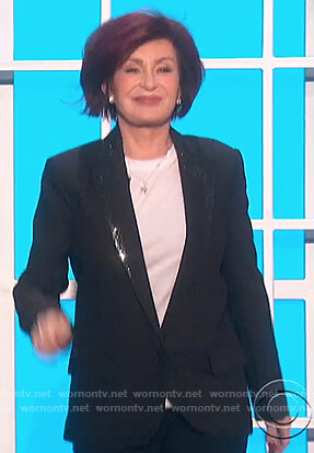 Sharon's black embellished lapel blazer on The Talk