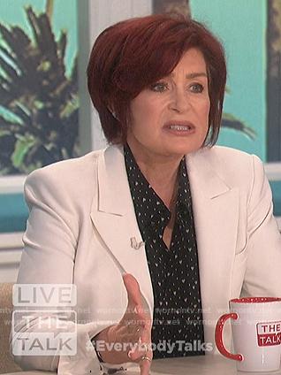 Sharon's black heart print shirt on The Talk