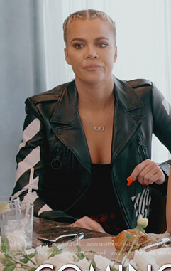 Khloe's black leather moto jacket with stripes on Keeping Up with the Kardashians