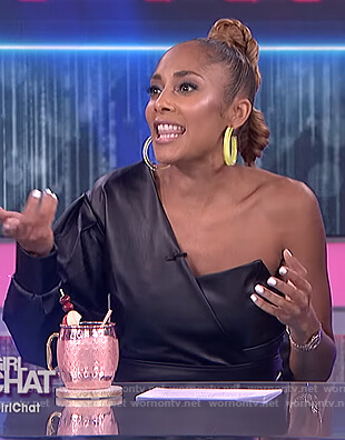Amanda's Seales black leather dress on The Real