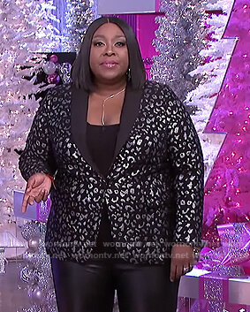 Loni's black leaoprd metallic blazer on The Real