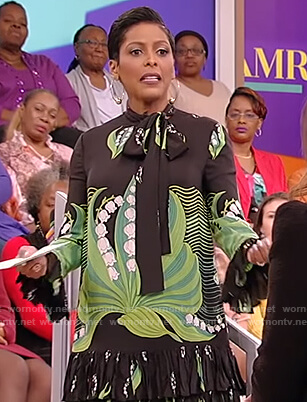 Tamron's black lily print dress on Tamron Hall Show