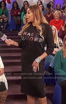 Wendy's black Marc Jacobs embellished sweatshirt on The Wendy Williams Show