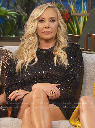 Shannon's black metallic mini dress on The Real Housewives of Orange County
