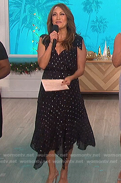 Carrie's navy metallic dress on The Talk